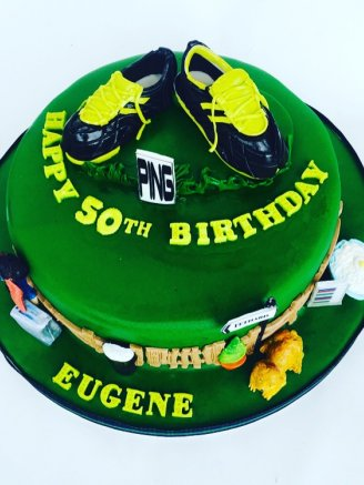 Soccer boots cake