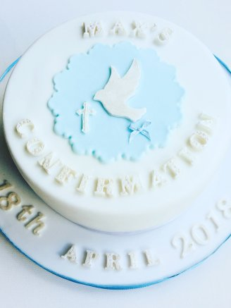 Dove blue communion cake