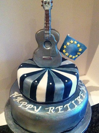 Guitar Retirement Chocolate Biscuit Cake