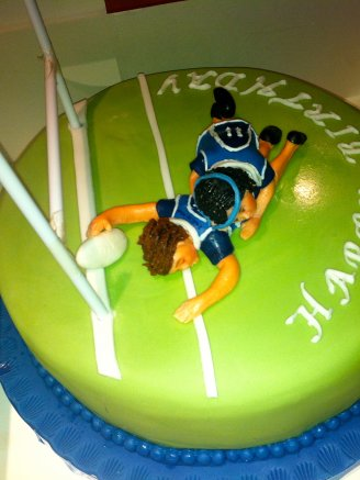 Rugby Tackle Chocolate Biscuit Cake